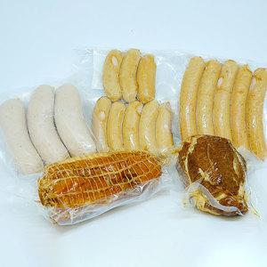 焼豚・ボンレスハム・ソーセージ3種セット (焼豚 200g ボンレスハム 280g パクパクウインナー 120g あらびきソーセージ150g  バイスブルスト180g )
