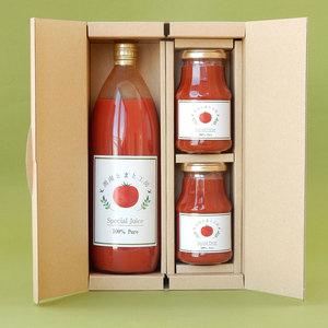 湘南完熟トマト100%無添加トマトジュースとトマトピューレのギフトセット (Aセット)